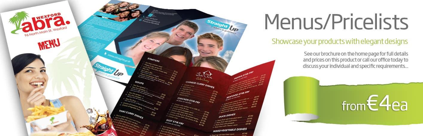 Menu Design & Printing Wexford